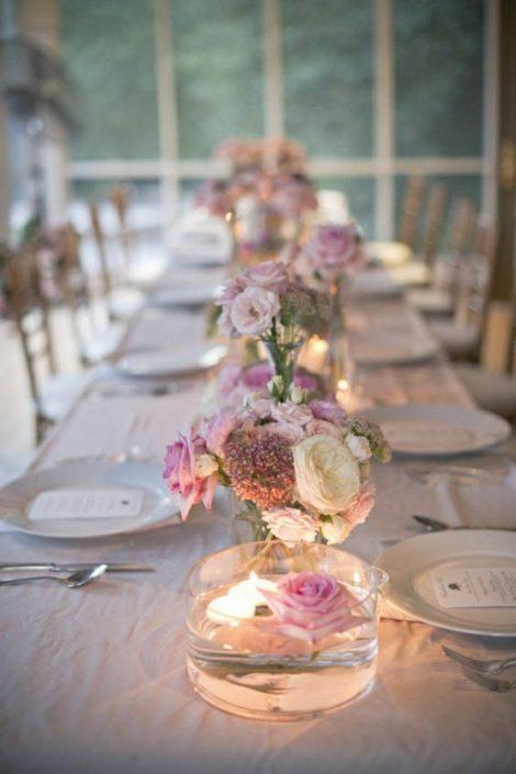 Portfolio Centre de table Mariage blanc et rose